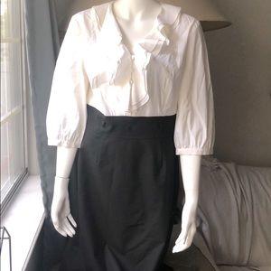 Tahari Black/White Ruffle Suit Dress - Size 8